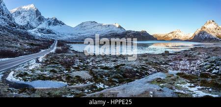 Flakstadoya  coastline, Lofoten Islands, Norway, Europe - Stock Photo