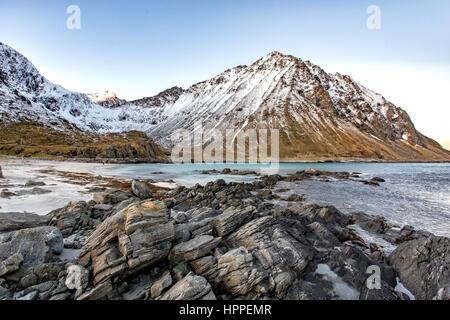 Flakstadoya seaside, Lofoten Islands, Norway, Europe - Stock Photo