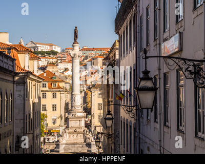 LISBON, PORTUGAL - JANUARY 10, 2017: Column of Pedro IV on Rossio Square (Pedro IV Square) in Lisbon, Portugal, - Stock Photo