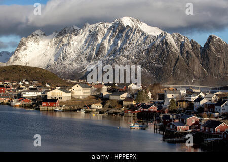 Reine town, winter, Lofoten Islands, Norway, Scandinavia, Europe - Stock Photo