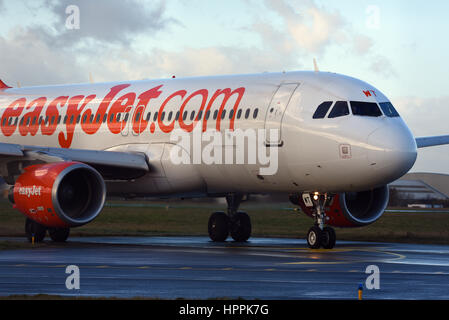 easyJet Airbus plane A320-214 G-EZWT taxiing at London Southend Airport, Essex. Space for copy - Stock Photo