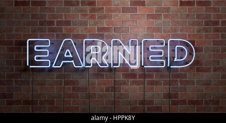 EARNED - fluorescent Neon tube Sign on brickwork - Front view - 3D rendered royalty free stock picture. Can be used - Stock Photo