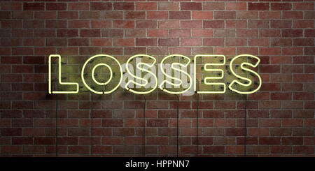 LOSSES - fluorescent Neon tube Sign on brickwork - Front view - 3D rendered royalty free stock picture. Can be used - Stock Photo