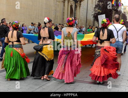 Participants in Logrono, Spain LGBT pride parade June 2016 - Stock Photo