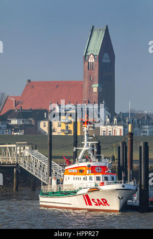 Search and rescue, SAR boat Hermann Helms, port of Cuxhaven, Germany, north sea coast,  St. Petri church, - Stock Photo