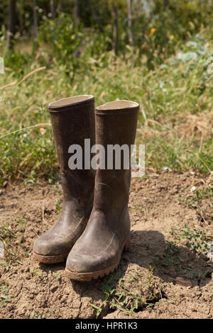 pair of boots in the garden - Stock Photo