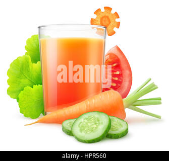 Isolated vegetable juice. Fresh carrot, sliced cucumber and tomato, leaves of lettuce and glass of mixed vegetable - Stock Photo