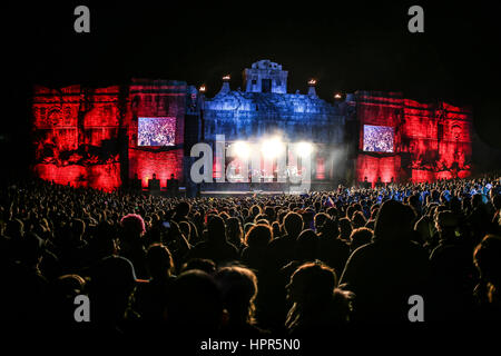 The Lion's Den Stage At Boomtown Festival, England, UK - Photo Credit: Michelle Roberts - Stock Photo