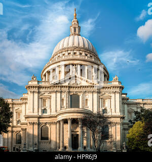 London, United Kingdom - October 20, 2015: View of south facade of Saint Paul's cathedral in the City of London - Stock Photo