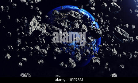 Inside the Asteroid belt seen against the Earth planet in the space. 3d rendering. Elements of this illustration - Stock Photo