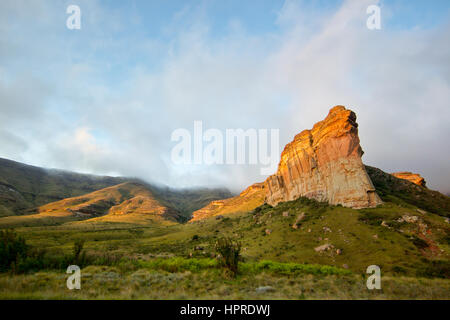 Brandwag Buttress is a well known landmark of Golden Gate Highlands National Park, South Africa. - Stock Photo