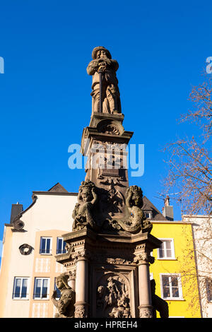 Europe, Germany, Cologne, Jan-von-Werth fountain on the Old market in the historic city center. - Stock Photo