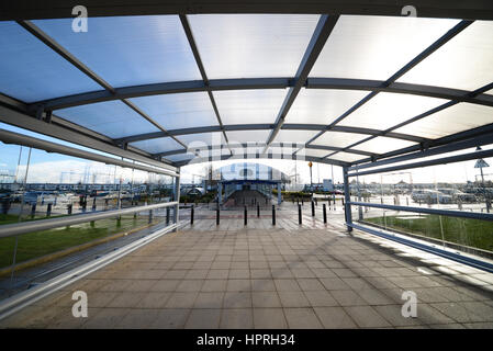 London Southend Airport railway station and infrastructure. Covered walkway. Space for copy - Stock Photo