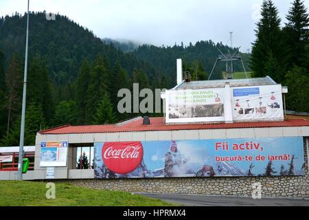 Cableway in Poiana Brasov, a winter  ski resort near the city Brasov, Transylvania, Romania. - Stock Photo