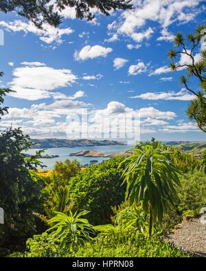 Dunedin, Otago, New Zealand. View over Otago Harbour from the hilltop gardens at Larnach Castle, Otago Peninsula. - Stock Photo