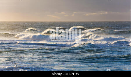 Dunedin, Otago, New Zealand. The storm-tossed waters of the Pacific Ocean off St Clair Beach. - Stock Photo