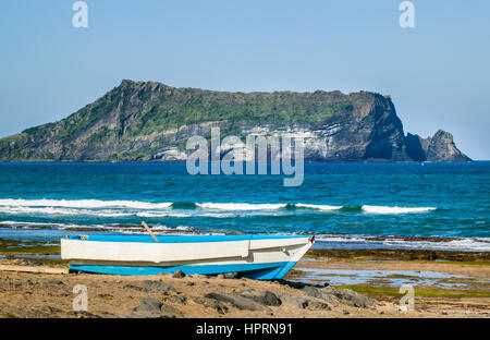 South Korea, eastern seaboard of Jeju Island, view of thw 182 metre tuff cone of Seongsan Ilchulbong Sunrise Peak - Stock Photo