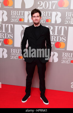 Alan Walker attending the Brit Awards at the O2 Arena, London. PRESS ASSOCIATION Photo. Picture date: Wednesday - Stock Photo