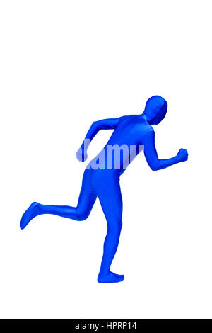 Mysterious blue man in morphsuit shows running isolated on white - Stock Photo