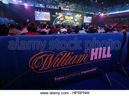 File photo dated 01/01/17 of a William Hill banner at the William Hill World Darts Championship at Alexandra Palace, - Stock Photo