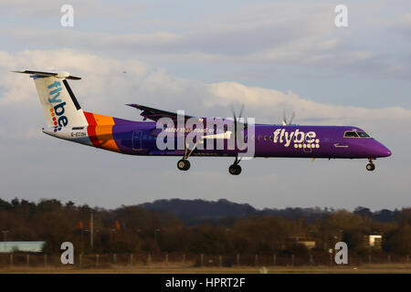 Flybe Bombardier Dash-8 Q400 G-ECOH landing at Southampton Airport - Stock Photo
