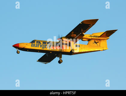 Aurigny Air Services Britten-Norman BN-2A Trislander G-JOEY landing at Southampton Airport - Stock Photo
