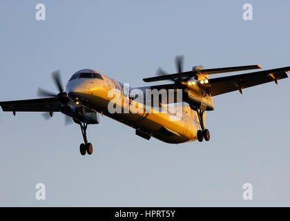 Flybe Bombardier Dash-8 Q400 G-JECO landing at Southampton Airport - Stock Photo