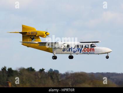 Aurigny Air Services Britten-Norman BN-2A Trislander G-BDTO landing at Southampton Airport - Stock Photo