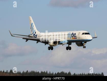Flybe Embraer ERJ-195LR G-FBEI landing at Southampton Airport - Stock Photo