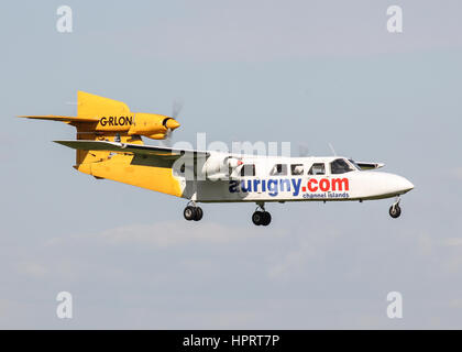 Aurigny Air Services Britten-Norman BN-2A Trislander G-RLON landing at Southampton Airport - Stock Photo