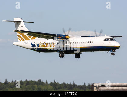 Blue Islands ATR 72-212 G-ISLI landing at Southampton Airport - Stock Photo