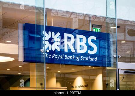 RBS Royal Bank of Scotland branch store sign logo, Birmingham, UK - Stock Photo