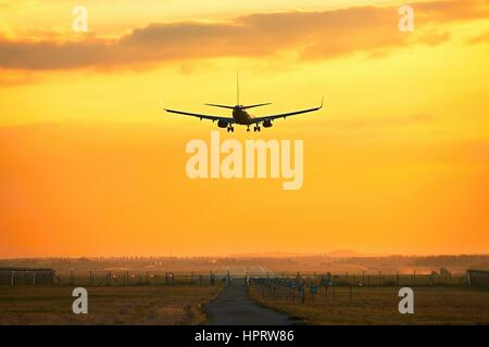 Silhouette of the airplane during landing at the airport - Stock Photo