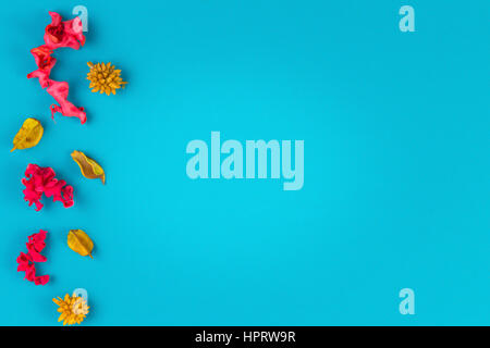 Pink and yellow dried flower plants border frame on blue background. Top view, flat lay. Copy space in the middle - Stock Photo