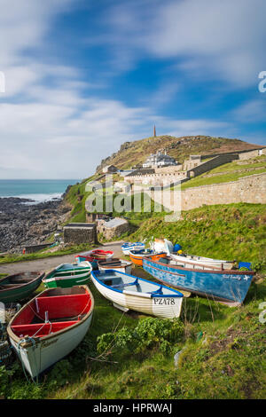 Fishing boats at Cape Cornwall, near St Just, West Cornwall, England, UK in February - Stock Photo