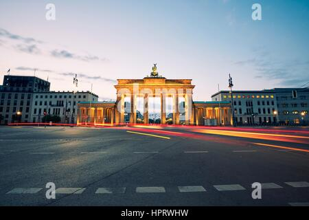 Brandenburg Gate - sunrise in Berlin, Germany - Stock Photo