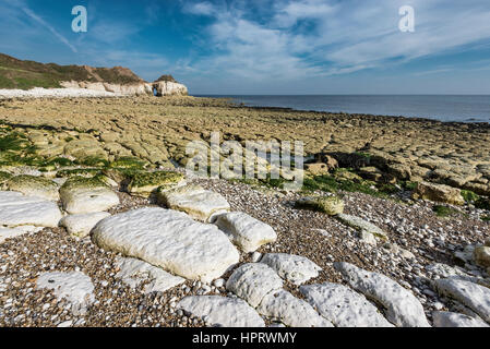 Beautiful sunny day at Thornwick bay near Flamborough on the coast of North Yorkshire, England. - Stock Photo