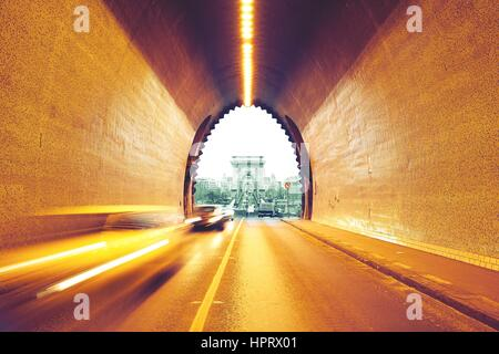 Traffic in urban tunnel - Budapest, Hungary - Stock Photo