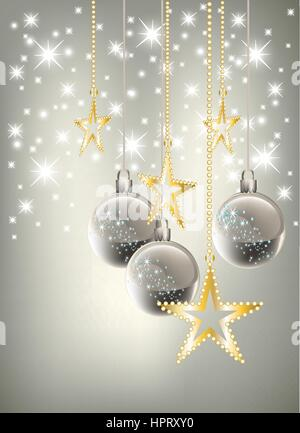 Christmas theme with gold, red and silver baubles, bright stars on blue background. - Stock Photo