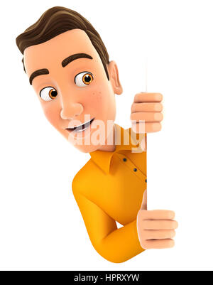 3d man peeping over blank wall, illustration with isolated white background - Stock Photo