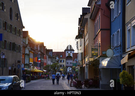 Historic City of Meersburg with colorful Buildings - Stock Photo