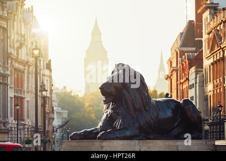 London street at the sunrise. View from Trafalgar Square to Big Ben at the sunrise. - Stock Photo