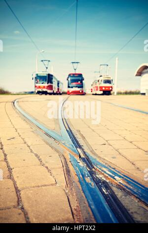 Terminal station of the tram lines in Prague - selective focus - Stock Photo