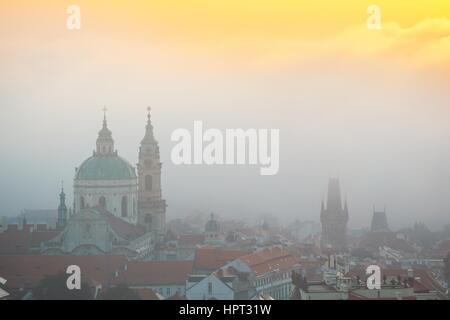 Autumn morning in the city. Prague under thick fog. Czech Republic. - Stock Photo