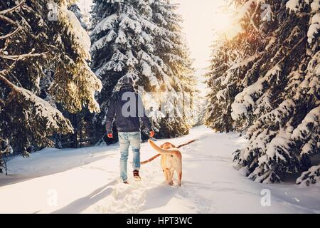 Trip to winter nature. Young man in warm clothes is walking with his labrador in snowy forest. - Stock Photo