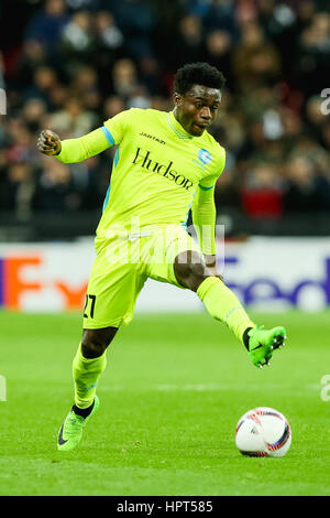 London, UK. 23rd Feb, 2017. Moses Simon (Gent) Football/Soccer : Moses Simon of Gent during the UEFA Europa League - Stock Photo