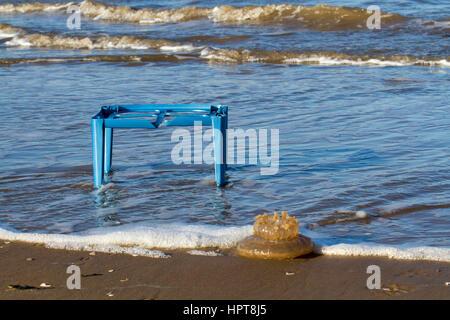 Ainsdale, Merseyside, UK.   UK Weather. 24th February, 2017 Massive Jellyfish and marine plastic washed up after - Stock Photo