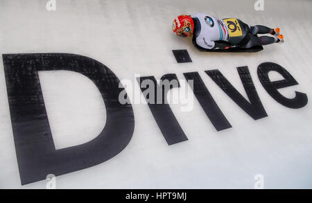 Koenigssee, Germany. 24th Feb, 2017. German athlete Ana Fernstaedt in action at the IBSF Bobsleigh and Skeleton - Stock Photo