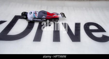 Koenigssee, Germany. 24th Feb, 2017. Slovenian athlete Sara Lavrencic in action at the IBSF Bobsleigh and Skeleton - Stock Photo