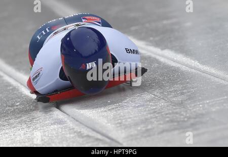 Koenigssee, Germany. 24th Feb, 2017. British athlete Lizzy Yarnold in action at the IBSF Bobsleigh and Skeleton - Stock Photo